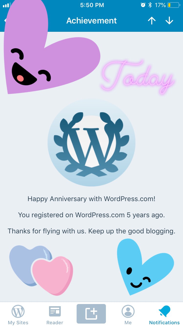 Happy 5th Anniversary ‼️ To BK From WordPress 😊 : How does this make me feel ⁉️💞 #BitterSweet